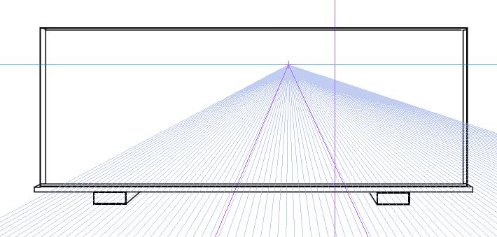 パースを使って教室を描く・一点透視図法23