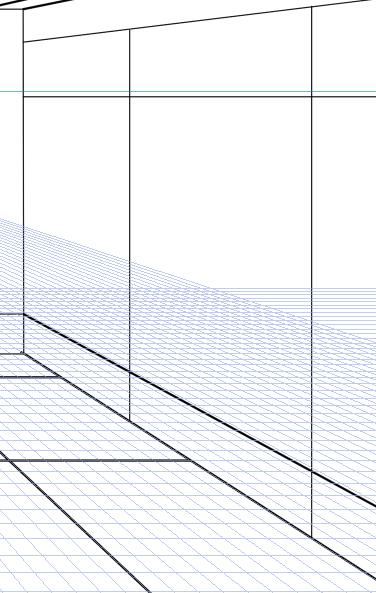 パースを使って教室を描く・一点透視図法38