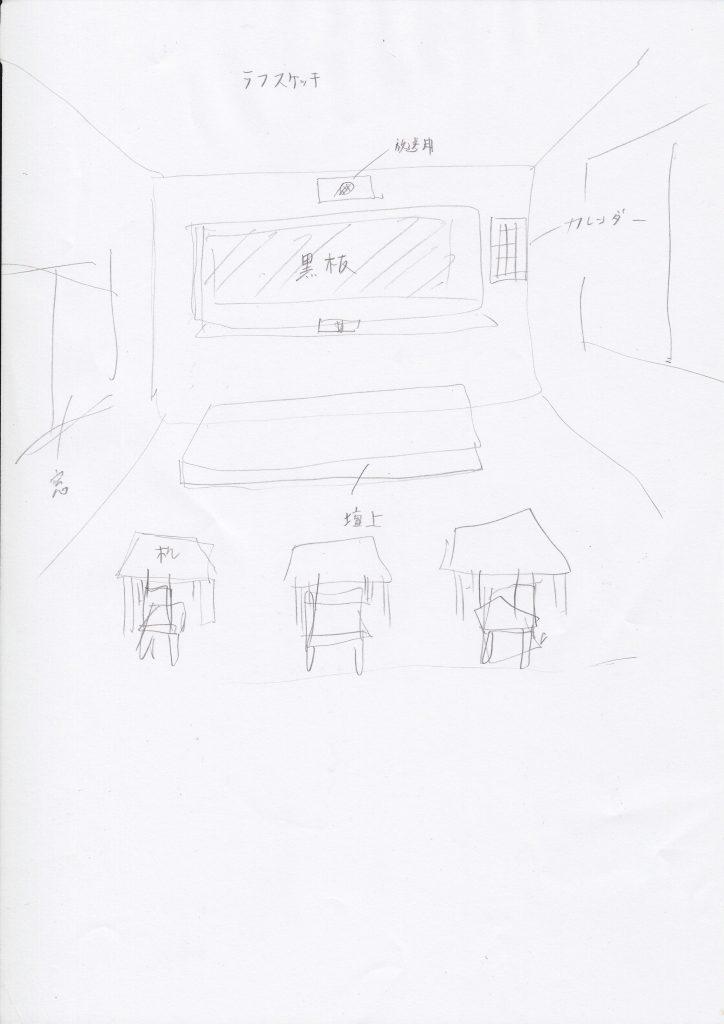教室と背景パース