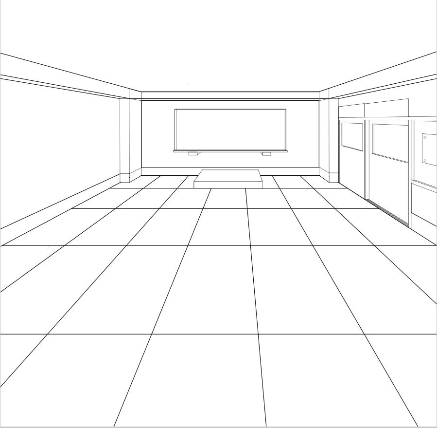 パースを使って教室を描く・一点透視図法45