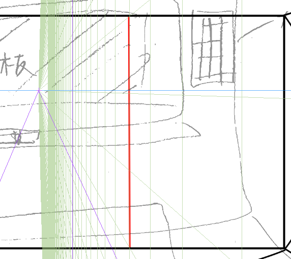 パースを使って教室を描く・一点透視図法6