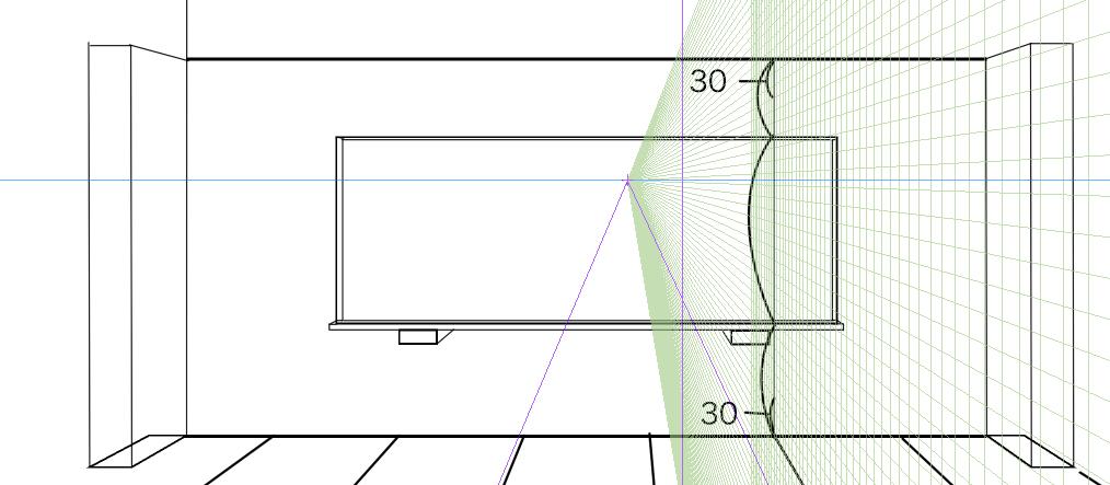 パースを使って教室を描く・一点透視図法25