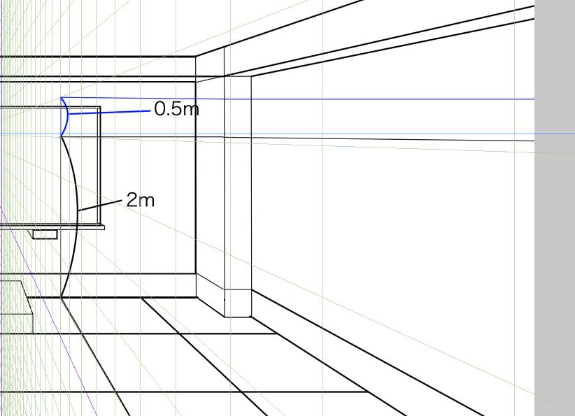 パースを使って教室を描く・一点透視図法36