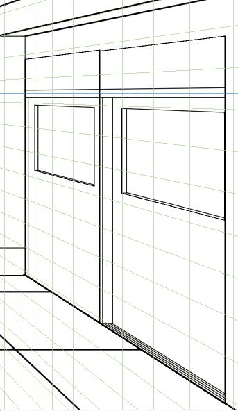 パースを使って教室を描く・一点透視図法43