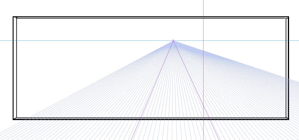 パースを使って教室を描く・一点透視図法21