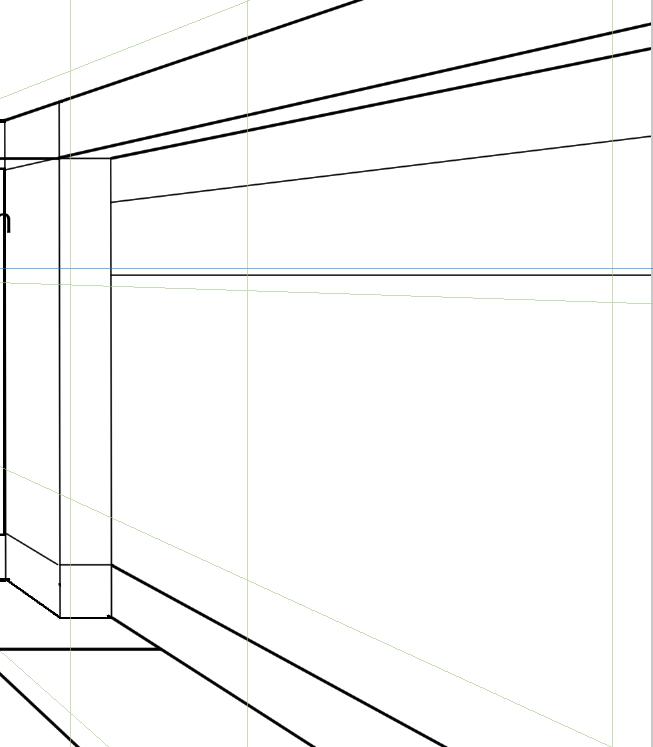 パースを使って教室を描く・一点透視図法37