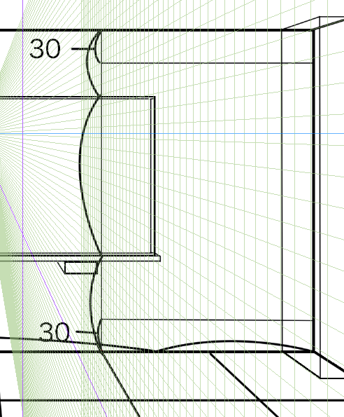 パースを使って教室を描く・一点透視図法24