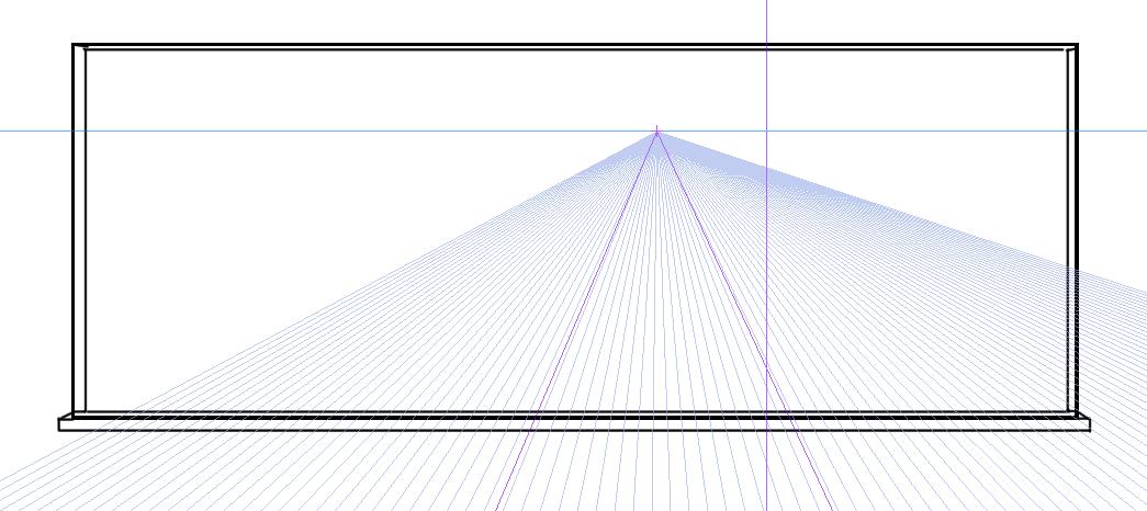 パースを使って教室を描く・一点透視図法22