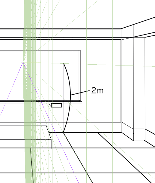 パースを使って教室を描く・一点透視図法34