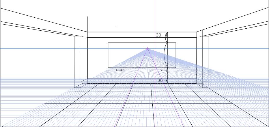 パースを使って教室を描く・一点透視図法28