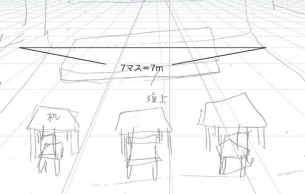 パースを使って教室を描く・一点透視図法1