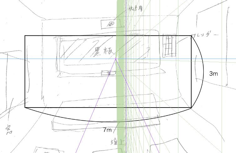 パースを使って教室を描く・一点透視図法4