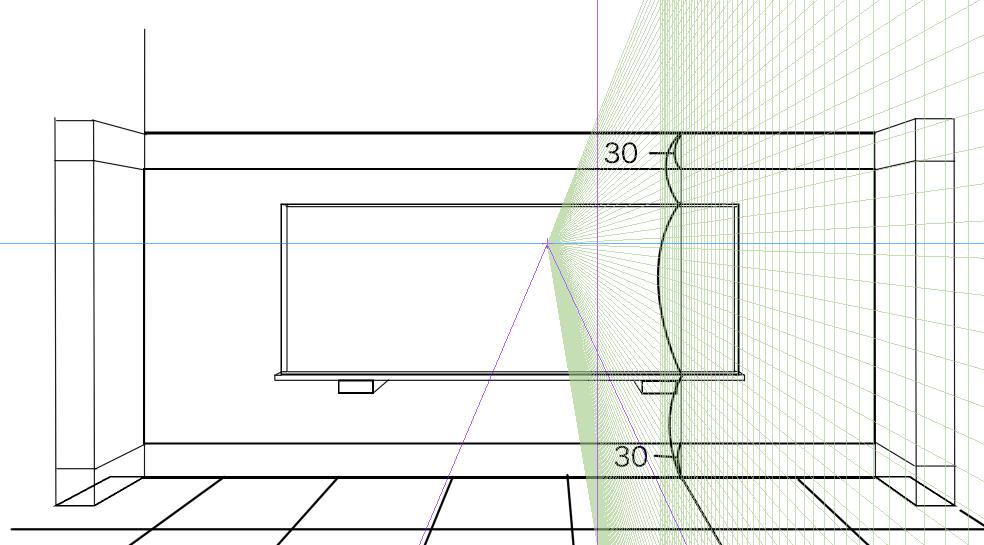 パースを使って教室を描く・一点透視図法26