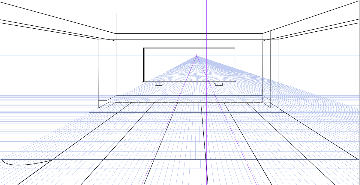 パースを使って教室を描く・一点透視図法29