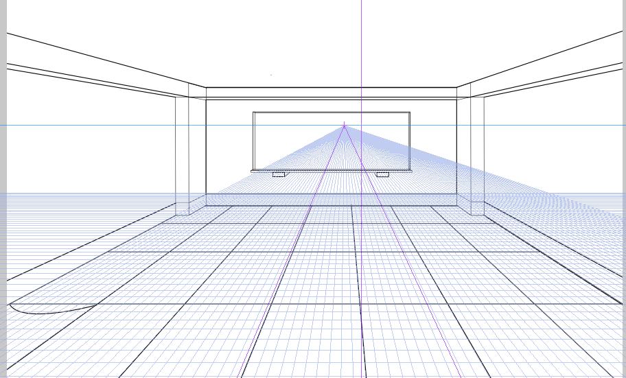 パースを使って教室を描く・一点透視図法30