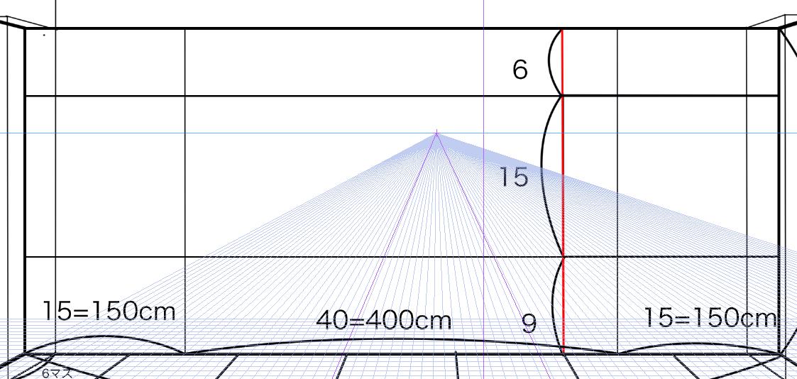 パースを使って教室を描く・一点透視図法19
