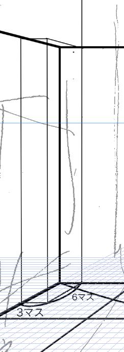 パースを使って教室を描く・一点透視図法15