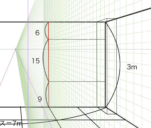 パースを使って教室を描く・一点透視図法18