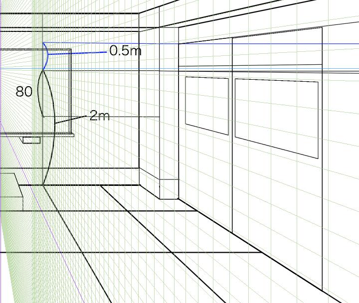 パースを使って教室を描く・一点透視図法41