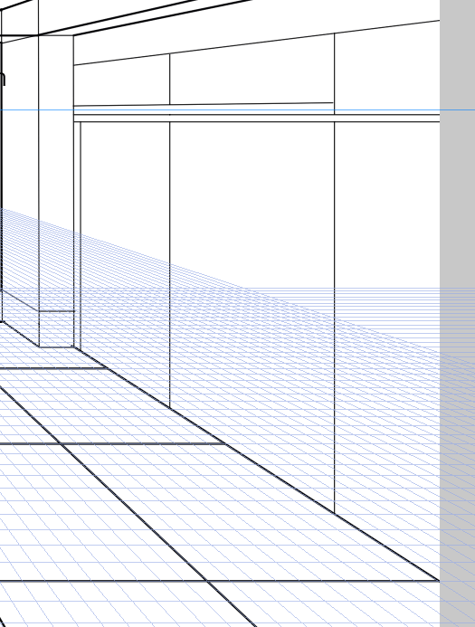 パースを使って教室を描く・一点透視図法39