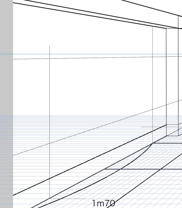 パースを使って教室を描く・一点透視図法62