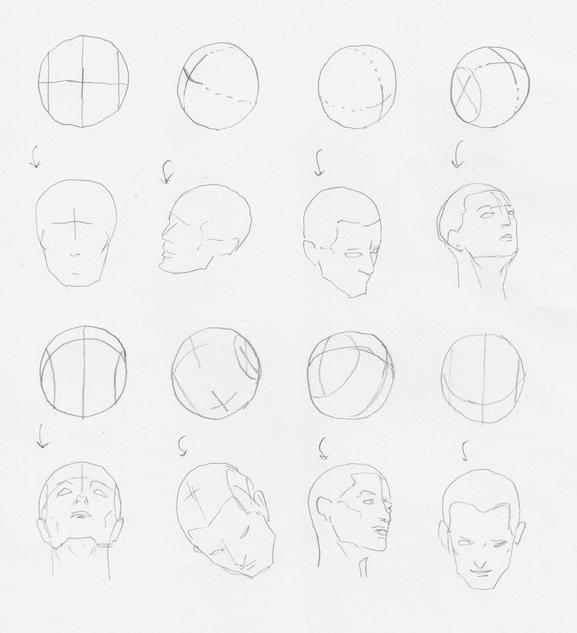 ルーミス 球の線 プロポーション 球の描き方 角度