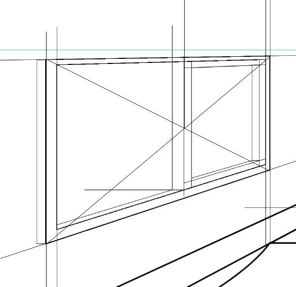 パースを使って教室を描く・一点透視図法67