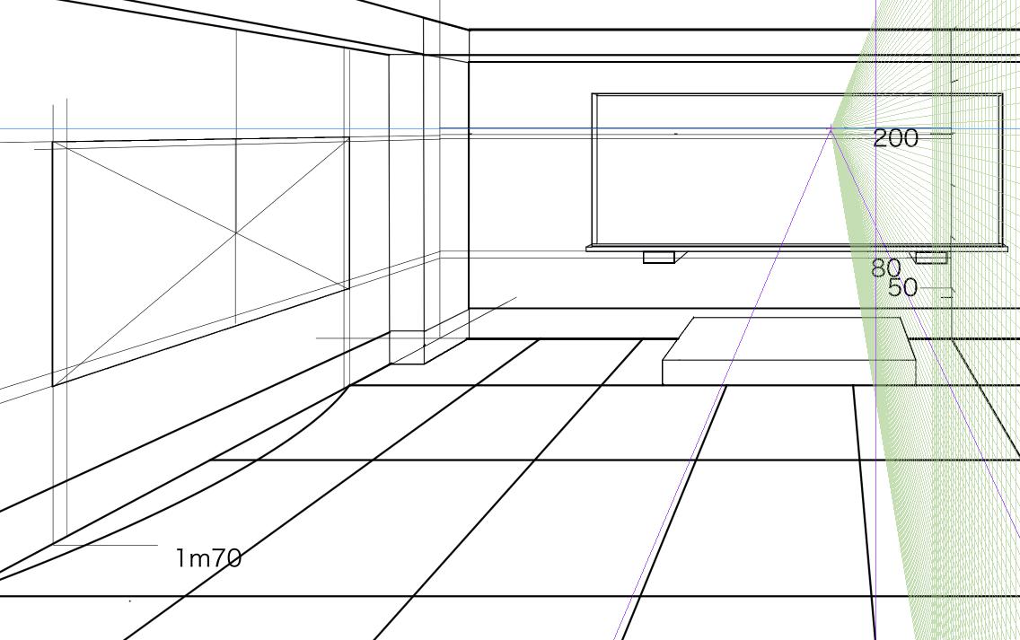 パースを使って教室を描く・一点透視図法65