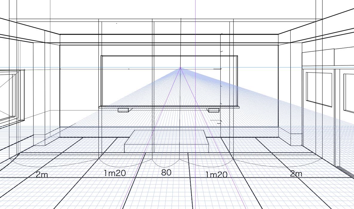 パースを使って教室を描く・一点透視図法74