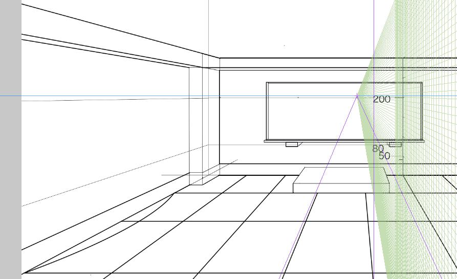パースを使って教室を描く・一点透視図法60