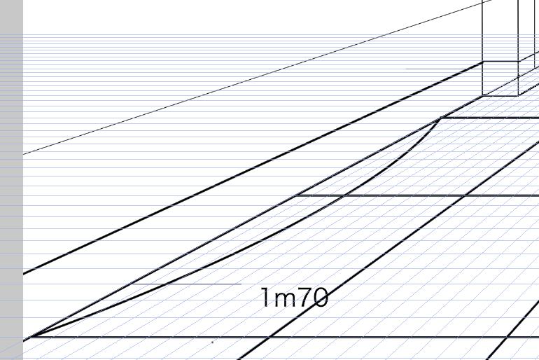 パースを使って教室を描く・一点透視図法61