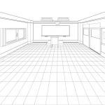 【クリスタ】一点透視図法で教室を描く実験【パース】