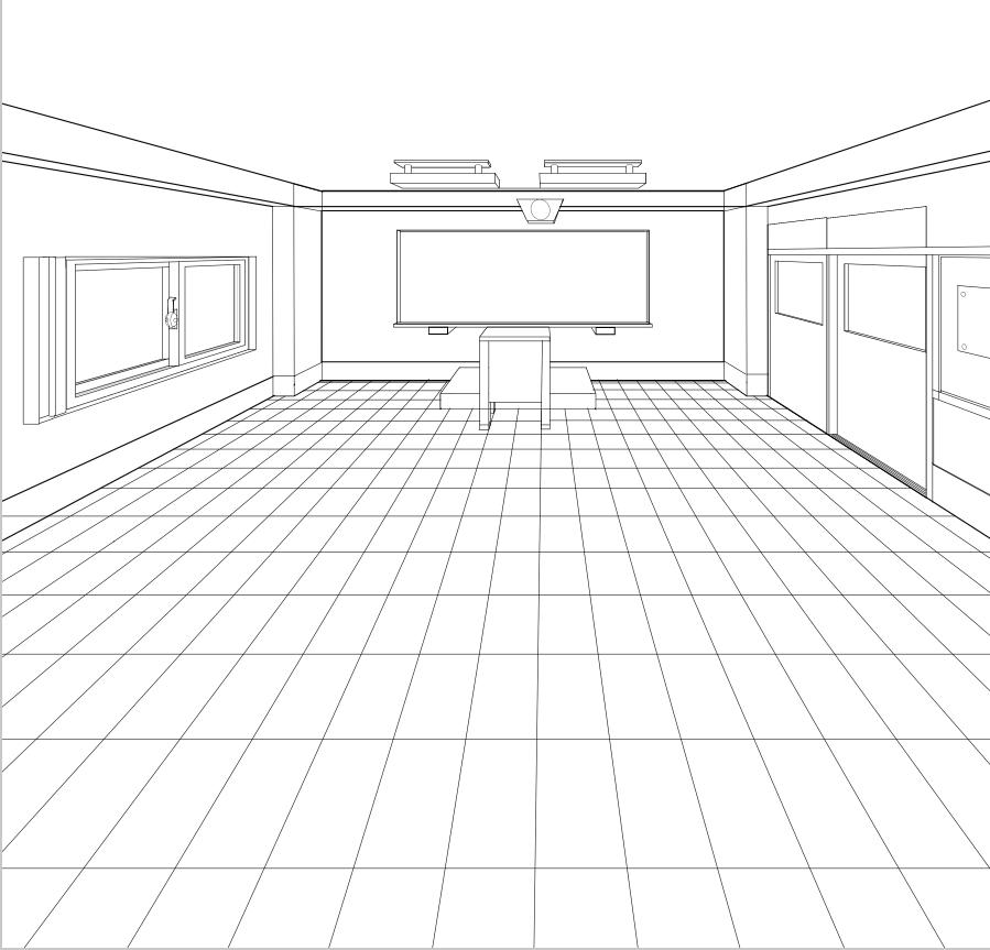 パースを使って教室を描く・一点透視図法90