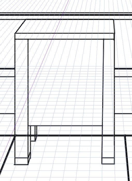 パースを使って教室を描く・一点透視図法86