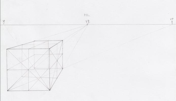 一点透視図法と対角線の消失点の説明11