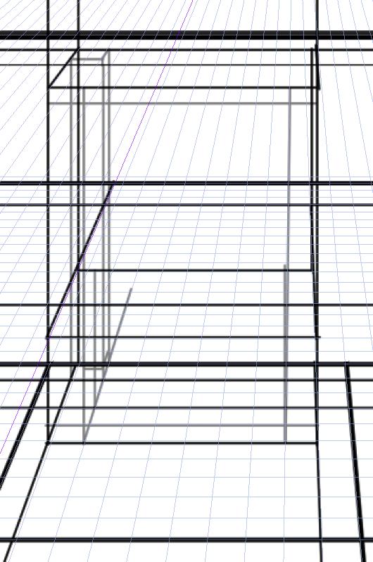パースを使って教室を描く・一点透視図法84