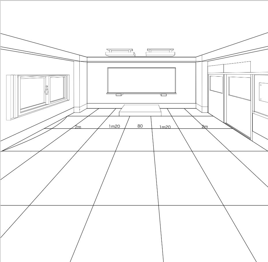 パースを使って教室を描く・一点透視図法81