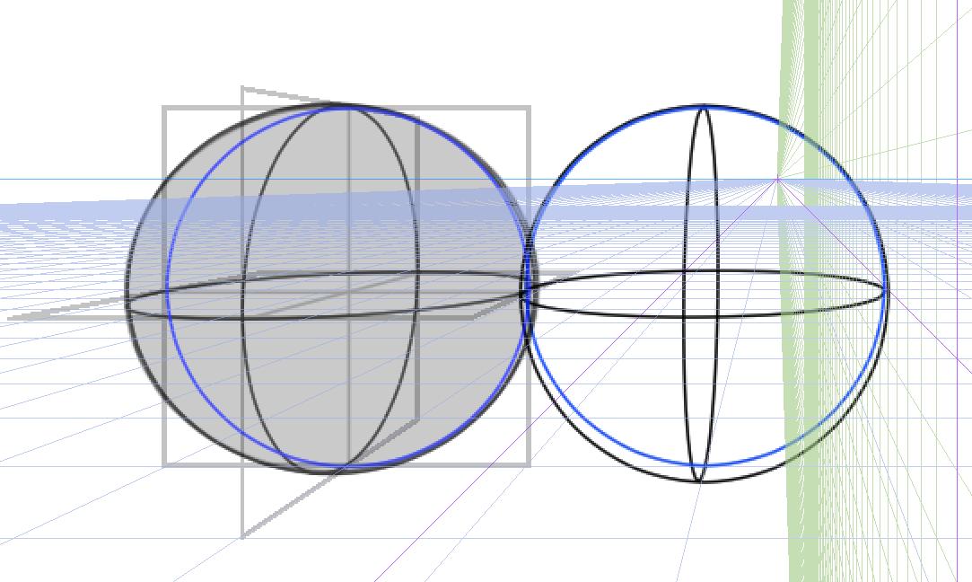 球体と立方体、描き方の実験9