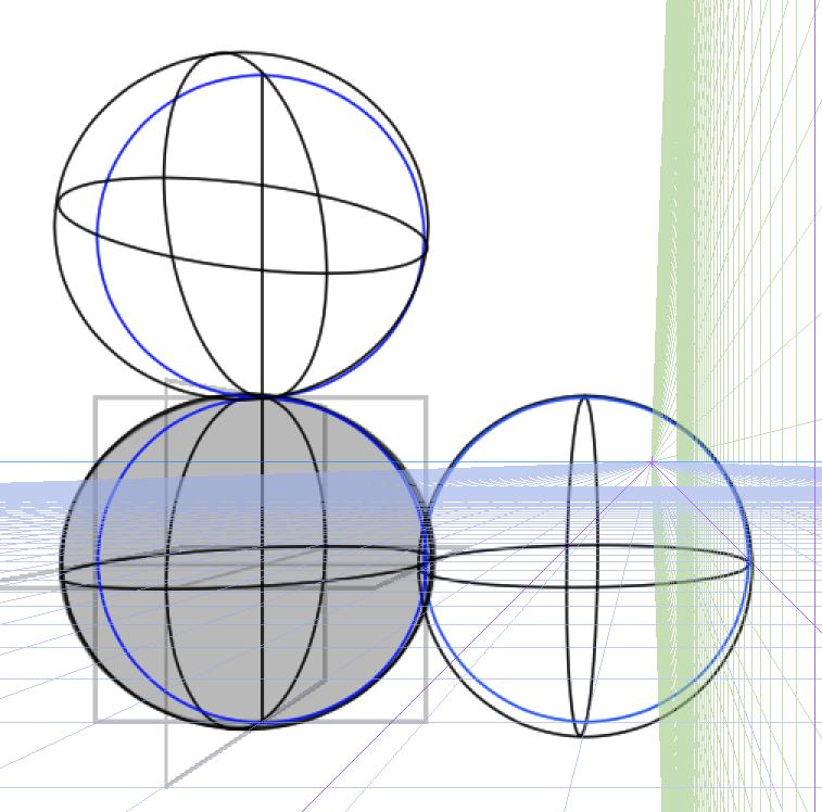 球体と立方体、描き方の実験10