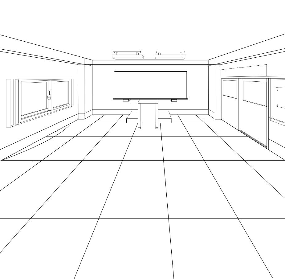 パースを使って教室を描く・一点透視図法87