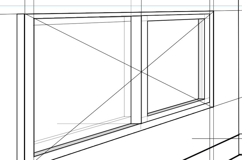 パースを使って教室を描く・一点透視図法69