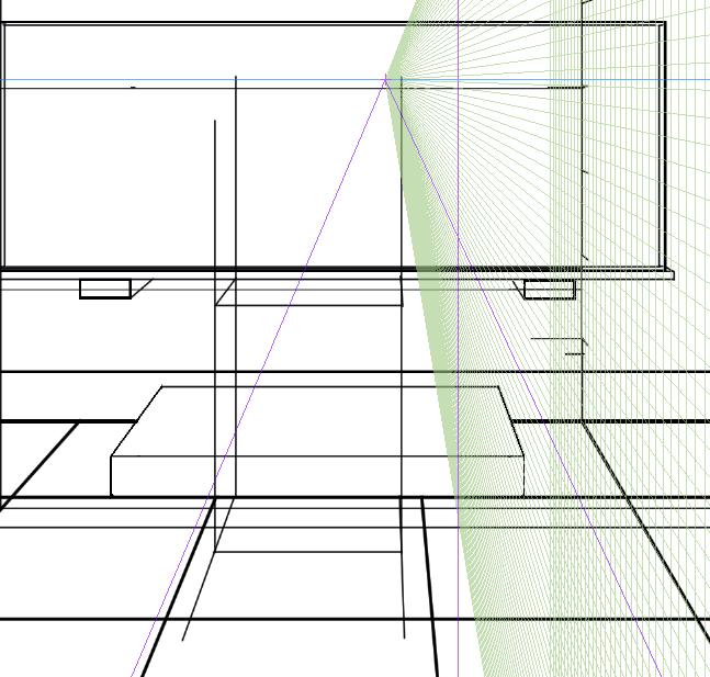 パースを使って教室を描く・一点透視図法83