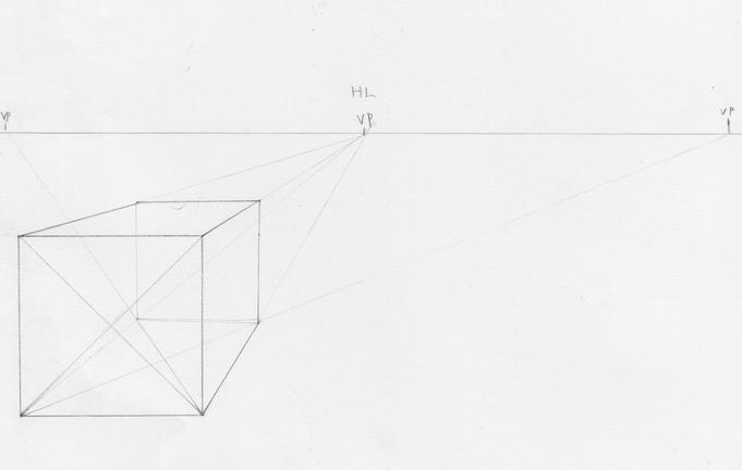 一点透視図法と対角線の消失点の説明9