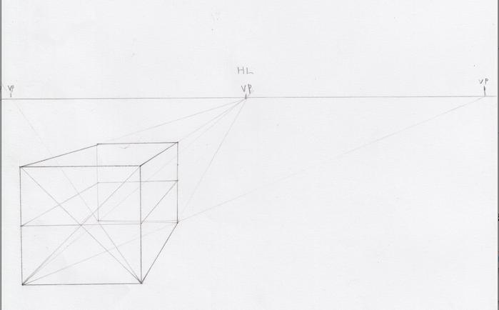 一点透視図法と対角線の消失点の説明10