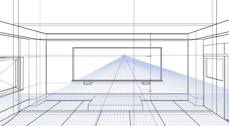 パースを使って教室を描く・一点透視図法73