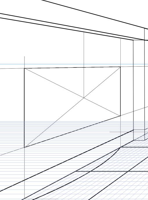 パースを使って教室を描く・一点透視図法63