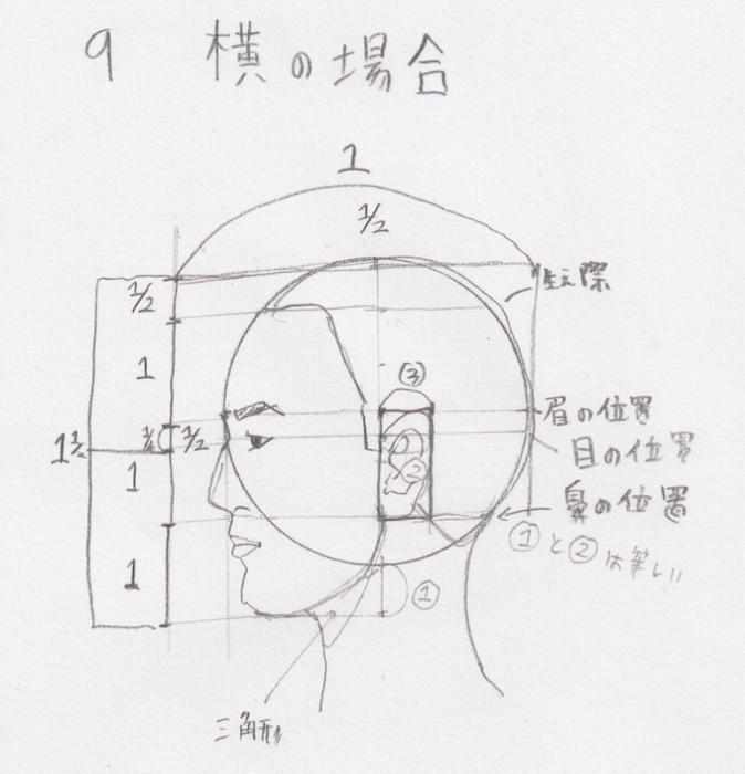 耳の位置、耳の幅、耳の描き方、耳の書き方、耳の割合、耳のプロポーション、耳の黄金率7
