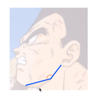 この線の角度は何°?